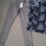 Pantaloni jacquard tinto capo